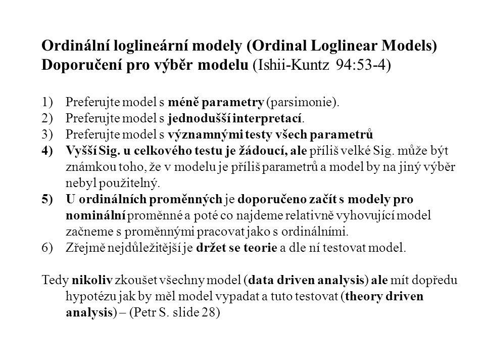 Ordinální loglineární modely (Ordinal Loglinear Models) Doporučení pro výběr modelu (Ishii-Kuntz 94:53-4) 1)Preferujte model s méně parametry (parsimo
