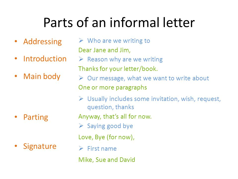 Parts of an informal letter Addressing Introduction Main body Parting Signature  Who are we writing to Dear Jane and Jim,  Reason why are we writing