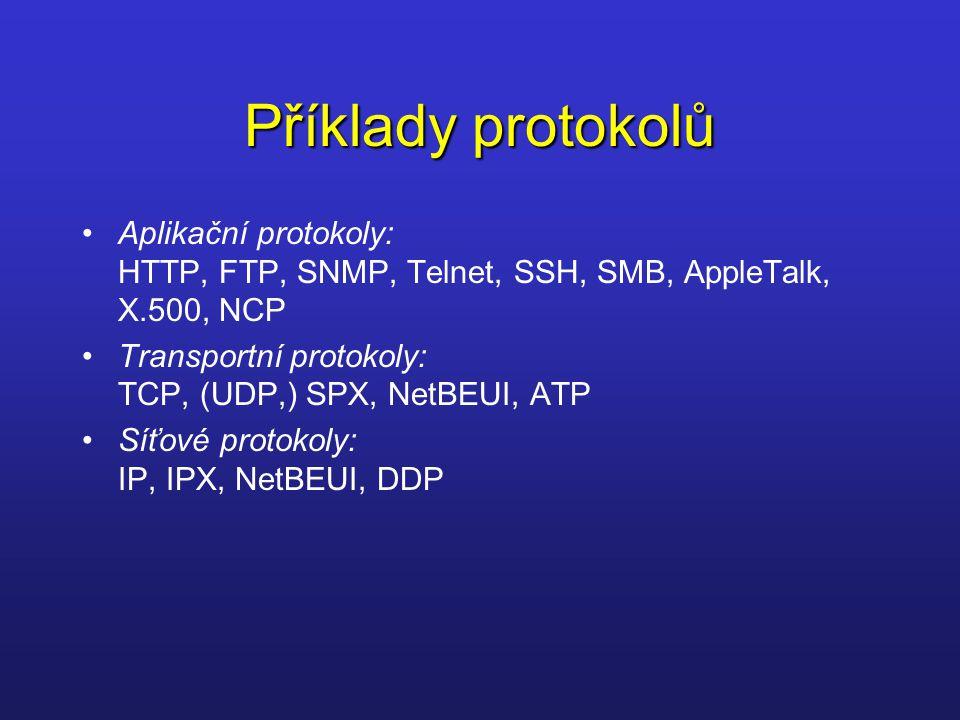 Příklady protokolů Aplikační protokoly: HTTP, FTP, SNMP, Telnet, SSH, SMB, AppleTalk, X.500, NCP Transportní protokoly: TCP, (UDP,) SPX, NetBEUI, ATP