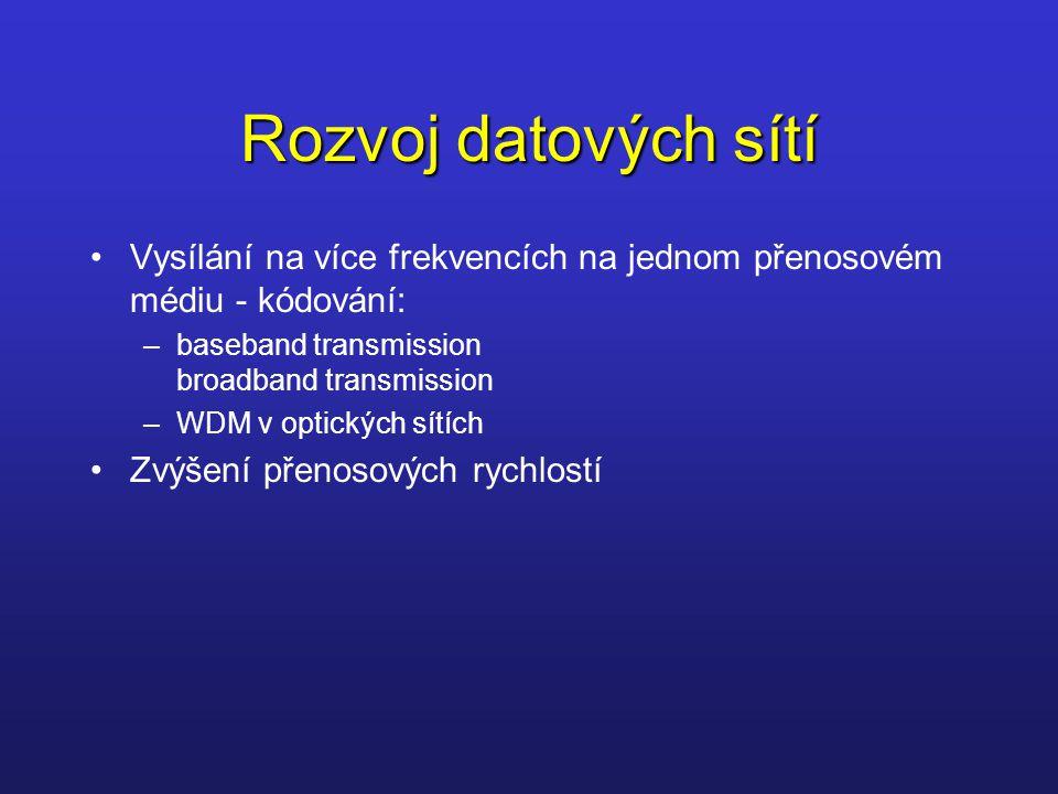 Rozvoj datových sítí Vysílání na více frekvencích na jednom přenosovém médiu - kódování: –baseband transmission broadband transmission –WDM v optickýc