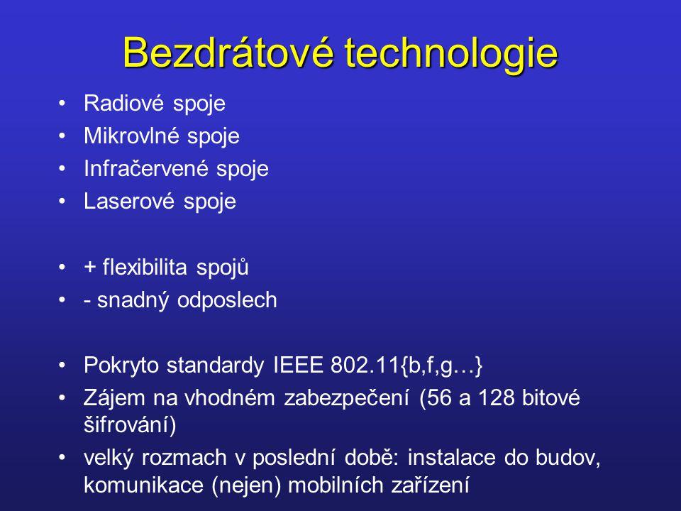 Bezdrátové technologie Radiové spoje Mikrovlné spoje Infračervené spoje Laserové spoje + flexibilita spojů - snadný odposlech Pokryto standardy IEEE 8