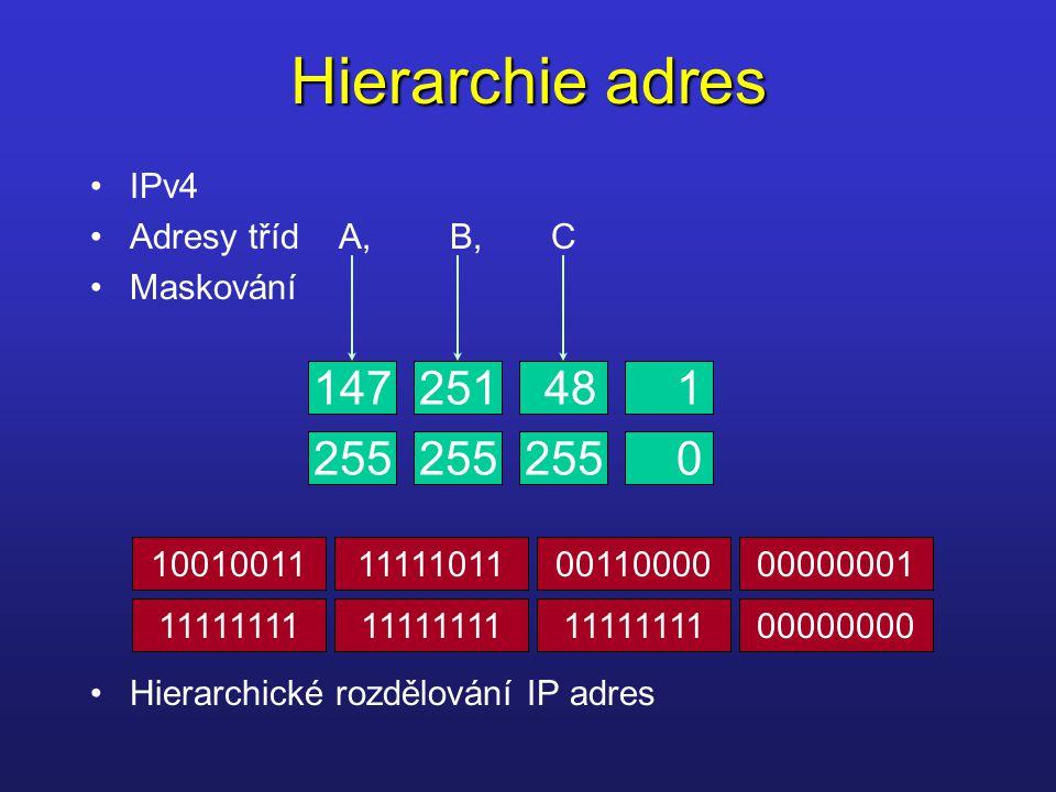 Hierarchie adres IPv4 Adresy tříd A, B, C Maskování Hierarchické rozdělování IP adres 147251481 255 0 10010011111110110011000000000001 11111111 000000