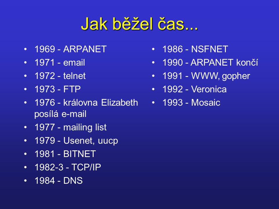 Jak běžel čas... 1969 - ARPANET 1971 - email 1972 - telnet 1973 - FTP 1976 - královna Elizabeth posílá e-mail 1977 - mailing list 1979 - Usenet, uucp