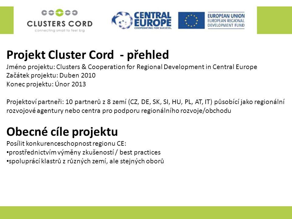 Projekt Cluster Cord - přehled Jméno projektu: Clusters & Cooperation for Regional Development in Central Europe Začátek projektu: Duben 2010 Konec pr