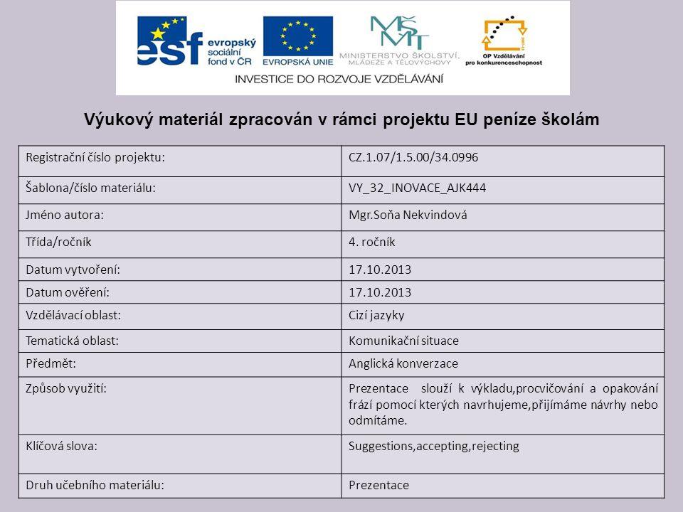 Registrační číslo projektu:CZ.1.07/1.5.00/34.0996 Šablona/číslo materiálu:VY_32_INOVACE_AJK444 Jméno autora:Mgr.Soňa Nekvindová Třída/ročník4.