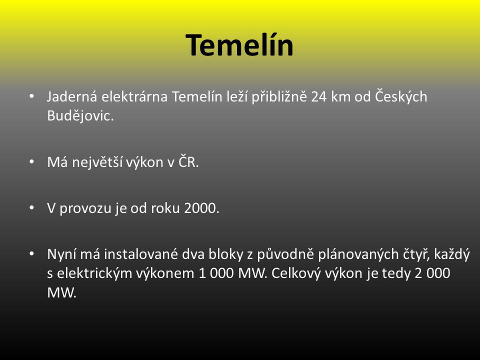 Temelín Jaderná elektrárna Temelín leží přibližně 24 km od Českých Budějovic.
