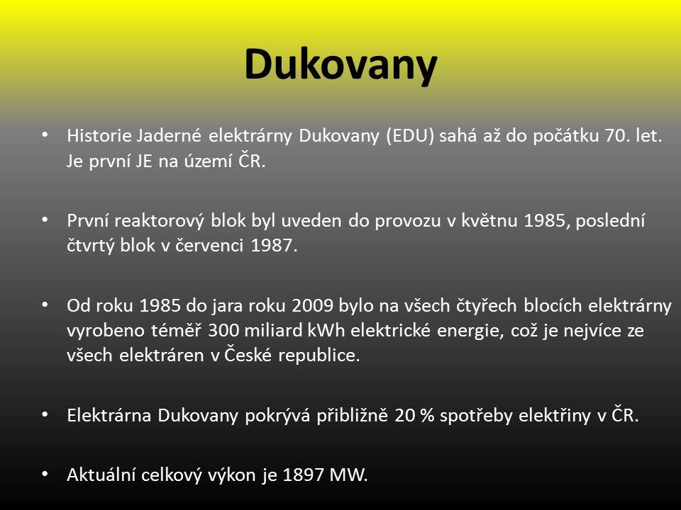 Dukovany Historie Jaderné elektrárny Dukovany (EDU) sahá až do počátku 70.