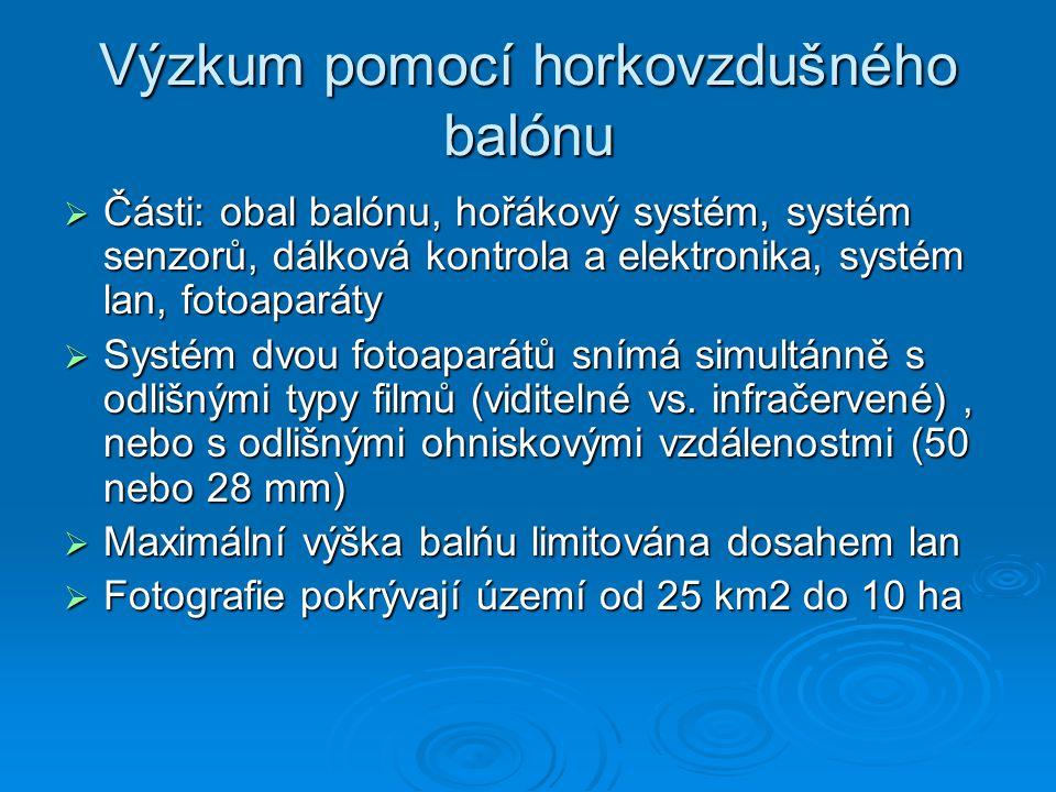 Výzkum pomocí horkovzdušného balónu  Části: obal balónu, hořákový systém, systém senzorů, dálková kontrola a elektronika, systém lan, fotoaparáty  S