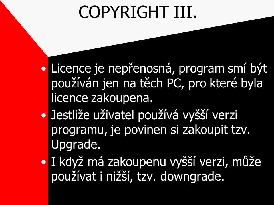 COPYRIGHT III. Licence je nepřenosná, program smí být používán jen na těch PC, pro které byla licence zakoupena. Jestliže uživatel používá vyšší verzi
