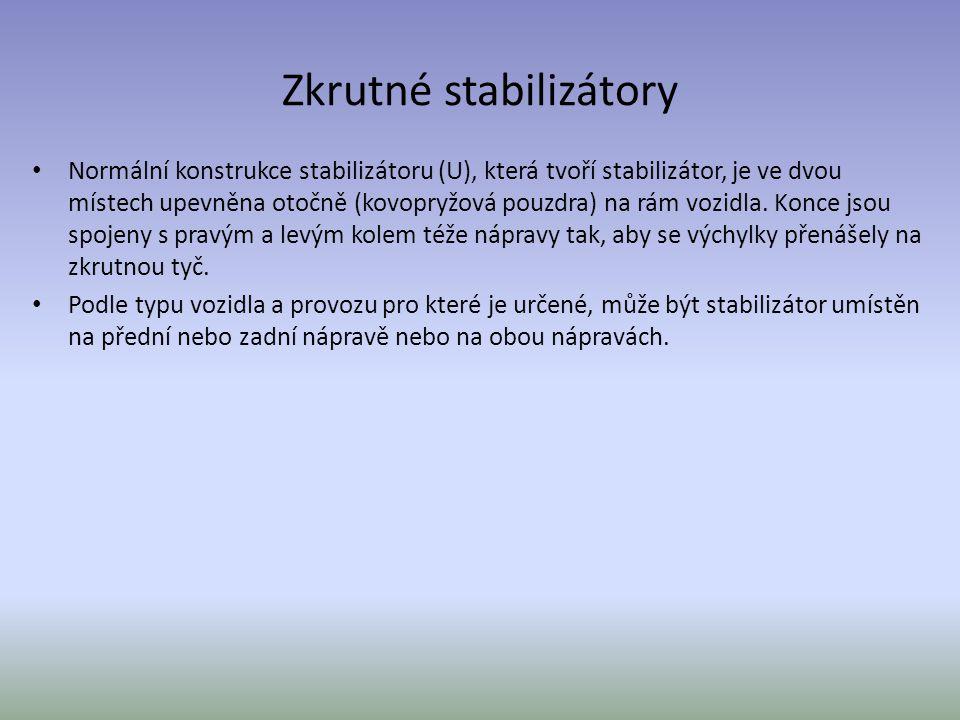 Zkrutné stabilizátory Normální konstrukce stabilizátoru (U), která tvoří stabilizátor, je ve dvou místech upevněna otočně (kovopryžová pouzdra) na rám