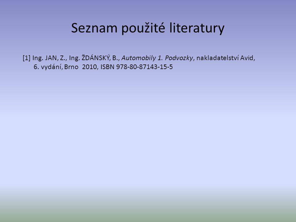 Seznam použité literatury [1] Ing. JAN, Z., Ing. ŽDÁNSKÝ, B., Automobily 1. Podvozky, nakladatelství Avid, 6. vydání, Brno 2010, ISBN 978-80-87143-15-
