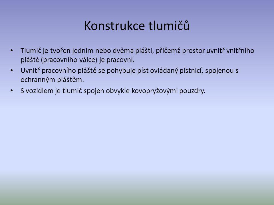 Konstrukce tlumičů Tlumič je tvořen jedním nebo dvěma plášti, přičemž prostor uvnitř vnitřního pláště (pracovního válce) je pracovní. Uvnitř pracovníh