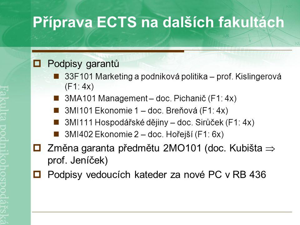 Příprava ECTS na dalších fakultách  Podpisy garantů 33F101 Marketing a podniková politika – prof.