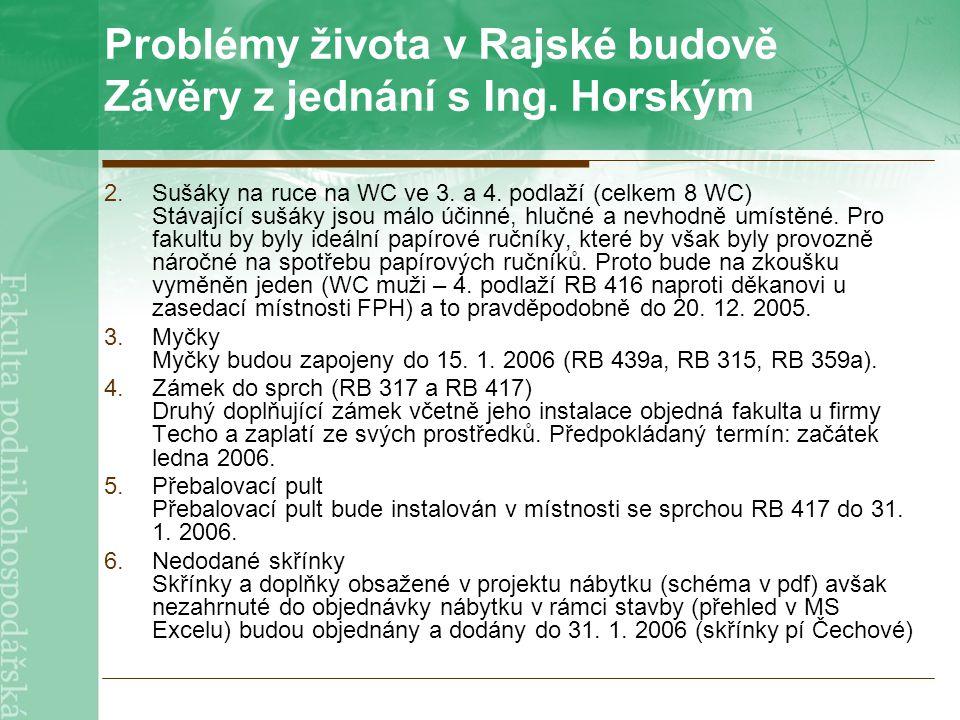 Problémy života v Rajské budově Závěry z jednání s Ing.