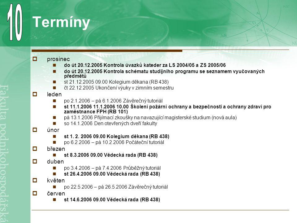 Termíny  prosinec do út 20.12.2005 Kontrola úvazků kateder za LS 2004/05 a ZS 2005/06 do út 20.12.2005 Kontrola schématu studijního programu se seznamem vyučovaných předmětů st 21.12.2005 09.00 Kolegium děkana (RB 438) čt 22.12.2005 Ukončení výuky v zimním semestru  leden po 2.1.2006 – pá 6.1.2006 Závěrečný tutoriál st 11.1.2006 11.1.2006 10.00 Školení požární ochrany a bezpečnosti a ochrany zdraví pro zaměstnance FPH (RB 101) pá 13.1.2006 Přijímací zkoušky na navazující magisterské studium (nová aula) so 14.1.2006 Den otevřených dveří fakulty  únor st 1.