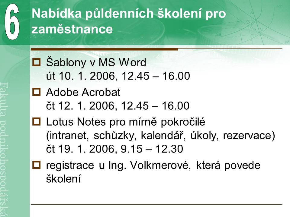 Nabídka půldenních školení pro zaměstnance  Šablony v MS Word út 10.