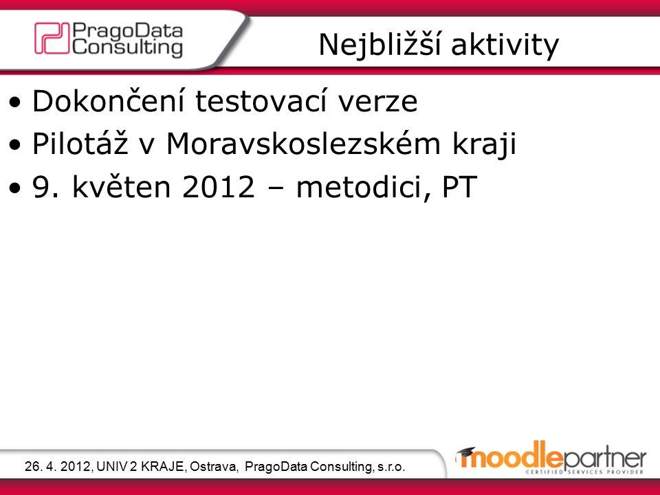 Dokončení testovací verze Pilotáž v Moravskoslezském kraji 9. květen 2012 – metodici, PT Nejbližší aktivity Moderní webové prostředí 26. 4. 2012, UNIV