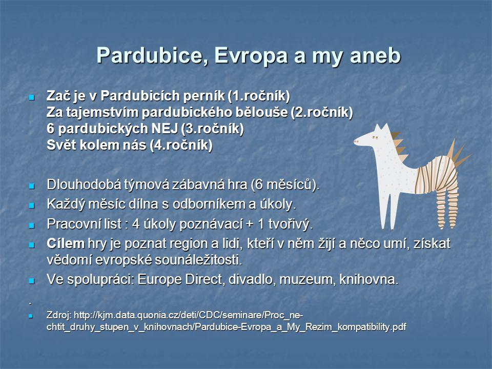 Pardubice, Evropa a my aneb Zač je v Pardubicích perník (1.ročník) Za tajemstvím pardubického bělouše (2.ročník) 6 pardubických NEJ (3.ročník) Svět ko