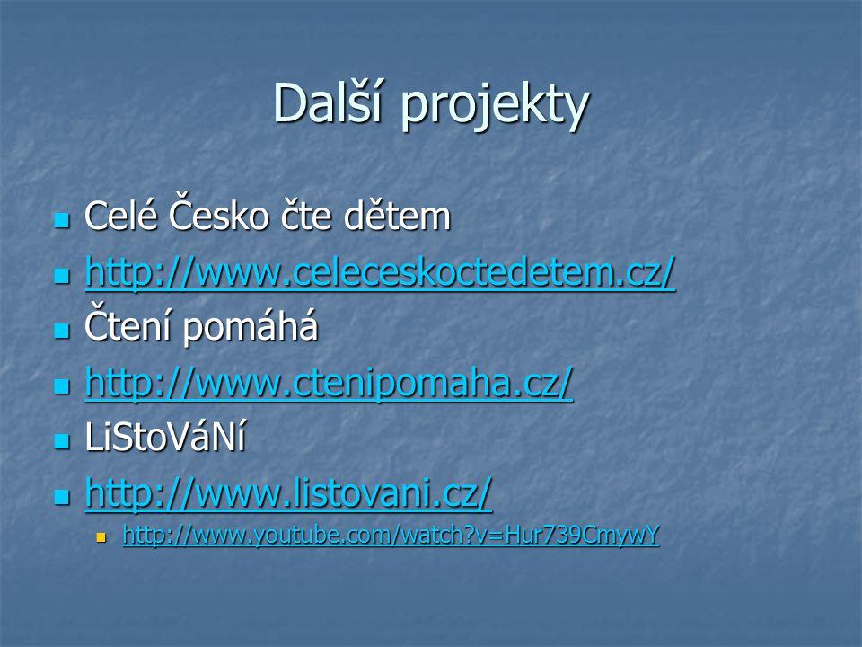 Další projekty Celé Česko čte dětem Celé Česko čte dětem http://www.celeceskoctedetem.cz/ http://www.celeceskoctedetem.cz/ http://www.celeceskoctedete