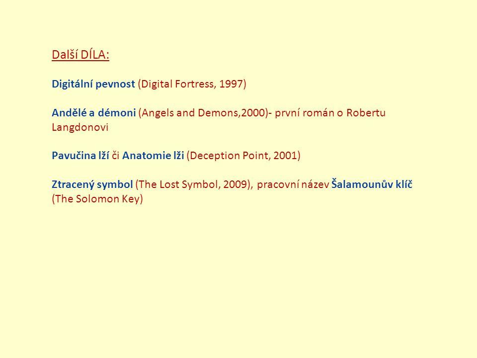 Další DÍLA: Digitální pevnost (Digital Fortress, 1997) Andělé a démoni (Angels and Demons,2000)- první román o Robertu Langdonovi Pavučina lží či Anatomie lži (Deception Point, 2001) Ztracený symbol (The Lost Symbol, 2009), pracovní název Šalamounův klíč (The Solomon Key)