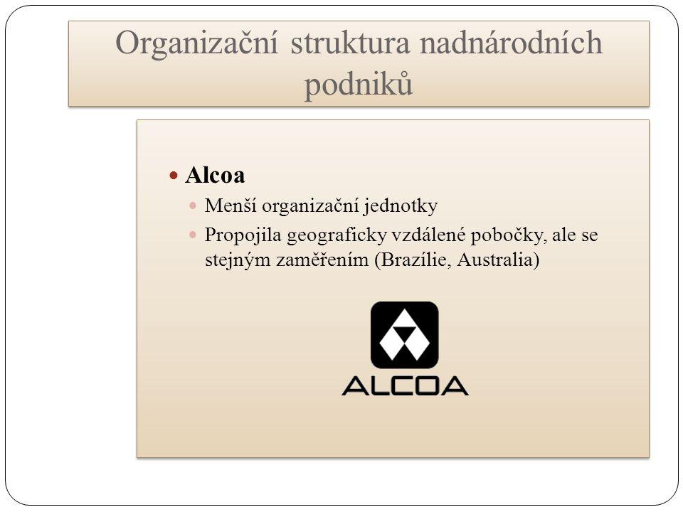Organizační struktura nadnárodních podniků Alcoa Menší organizační jednotky Propojila geograficky vzdálené pobočky, ale se stejným zaměřením (Brazílie, Australia) Alcoa Menší organizační jednotky Propojila geograficky vzdálené pobočky, ale se stejným zaměřením (Brazílie, Australia)