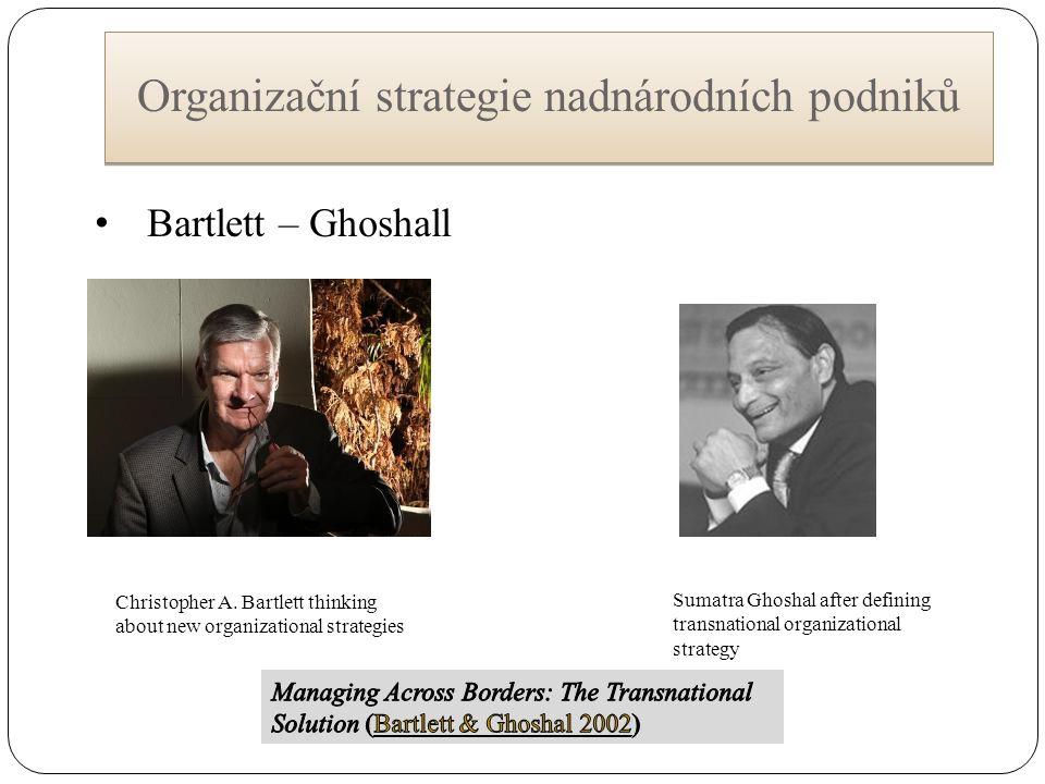 Organizační strategie nadnárodních podniků Christopher A. Bartlett thinking about new organizational strategies Sumatra Ghoshal after defining transna