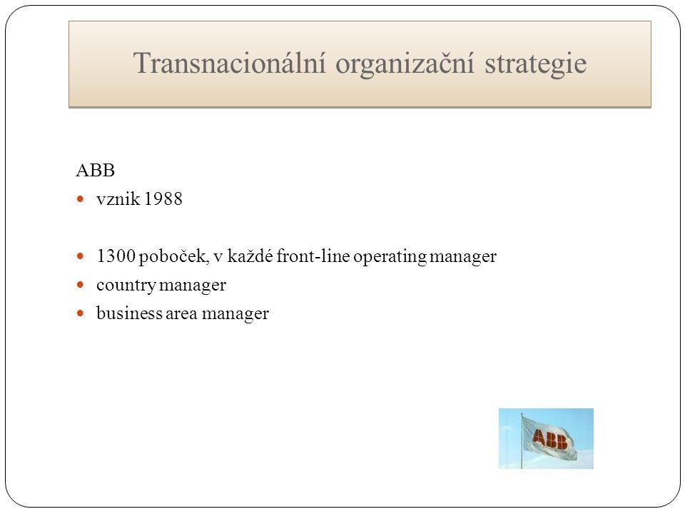 Transnacionální organizační strategie ABB vznik 1988 1300 poboček, v každé front-line operating manager country manager business area manager