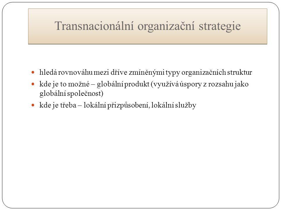 Transnacionální organizační strategie hledá rovnováhu mezi dříve zmíněnými typy organizačních struktur kde je to možné – globální produkt (využívá úspory z rozsahu jako globální společnost) kde je třeba – lokální přizpůsobení, lokální služby
