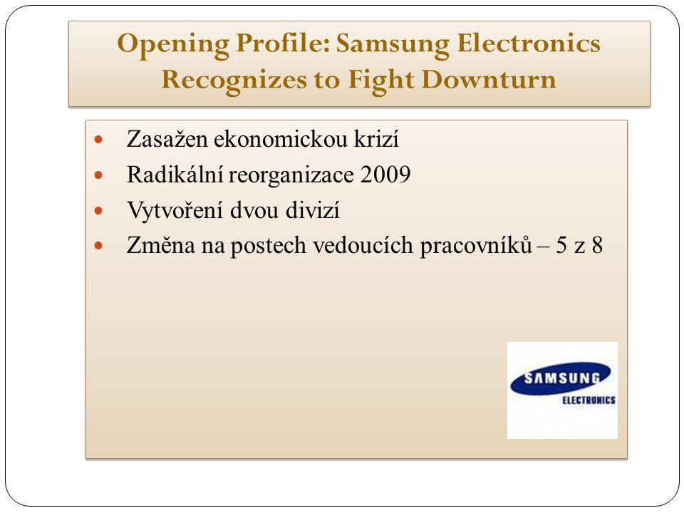Opening Profile: Samsung Electronics Recognizes to Fight Downturn Zasažen ekonomickou krizí Radikální reorganizace 2009 Vytvoření dvou divizí Změna na postech vedoucích pracovníků – 5 z 8 Zasažen ekonomickou krizí Radikální reorganizace 2009 Vytvoření dvou divizí Změna na postech vedoucích pracovníků – 5 z 8