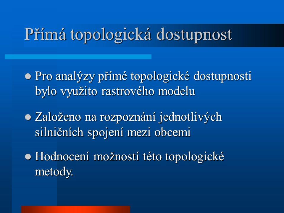 Přímá topologická dostupnost Pro analýzy přímé topologické dostupnosti bylo využito rastrového modelu Pro analýzy přímé topologické dostupnosti bylo v