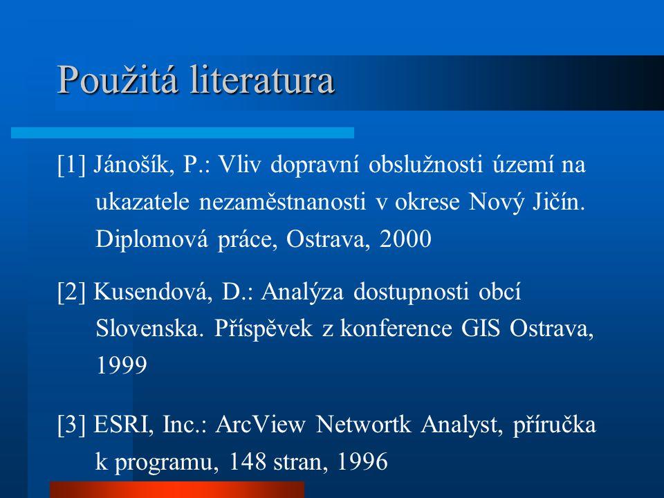 Použitá literatura [1] Jánošík, P.: Vliv dopravní obslužnosti území na ukazatele nezaměstnanosti v okrese Nový Jičín. Diplomová práce, Ostrava, 2000 [