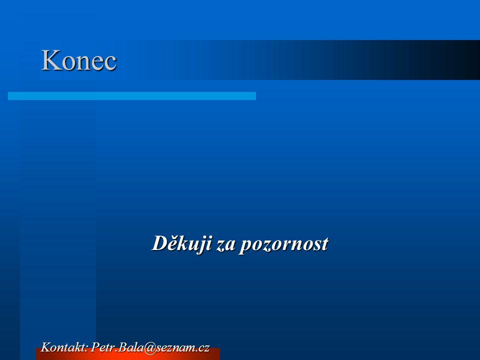 Konec Děkuji za pozornost Kontakt: Petr.Bala@seznam.cz