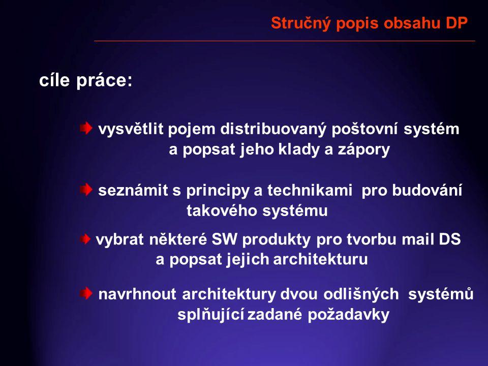 Stručný popis obsahu DP cíle práce: seznámit s principy a technikami pro budování takového systému vysvětlit pojem distribuovaný poštovní systém a pop
