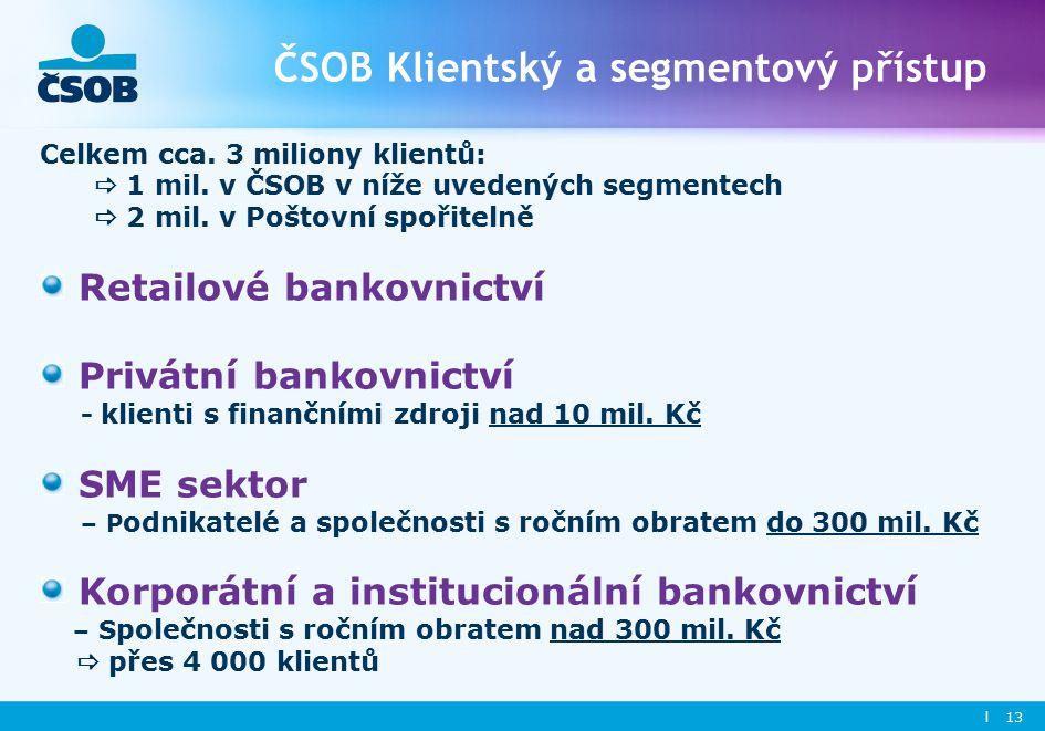 l 13 ČSOB Klientský a segmentový přístup Celkem cca.