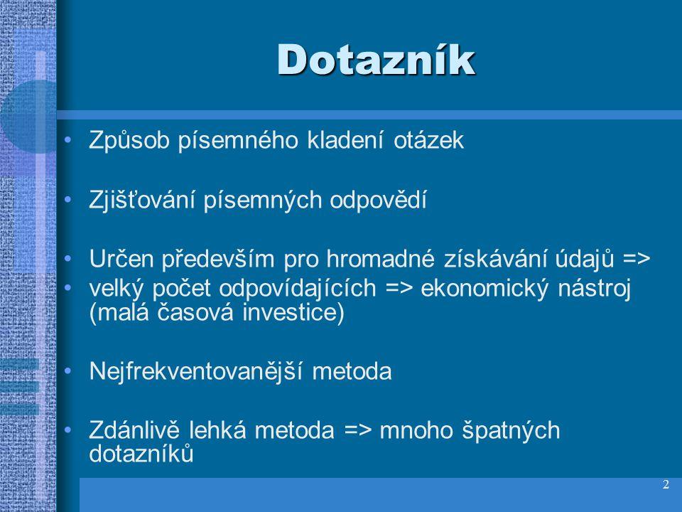 1 Dotazník Kateřina Vlčková Přednášky Základy pedagogické metodologie Sem přidejte logo společnosti Logo vaší společnosti vložíte na snímek následujíc
