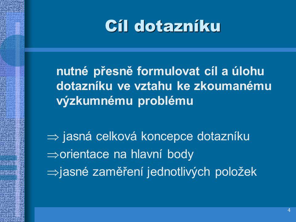 3 Terminologie RESPONDENT osoba, která dotazník vyplňuje POLOŽKY otázky, jednotlivé prvky dotazníku ADMINISTRACE zadávání dotazníku NÁVRATNOST DOTAZNÍKU
