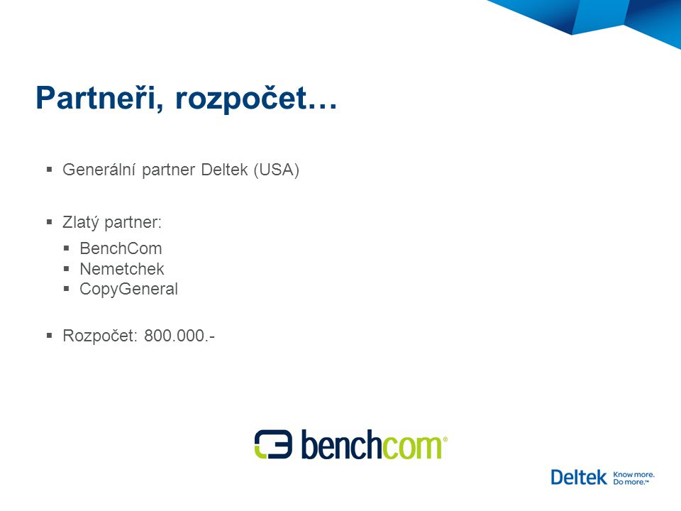 Partneři, rozpočet…  Generální partner Deltek (USA)  Zlatý partner:  BenchCom  Nemetchek  CopyGeneral  Rozpočet: 800.000.-