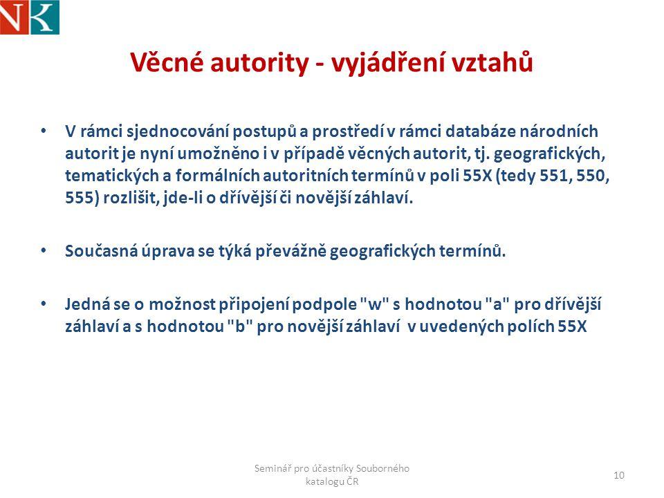 Věcné autority - vyjádření vztahů V rámci sjednocování postupů a prostředí v rámci databáze národních autorit je nyní umožněno i v případě věcných autorit, tj.