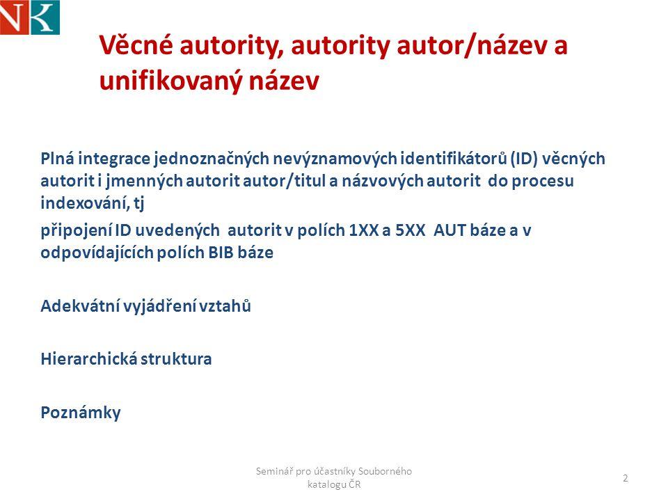 Věcné autority, autority autor/název a unifikovaný název Plná integrace jednoznačných nevýznamových identifikátorů (ID) věcných autorit i jmenných autorit autor/titul a názvových autorit do procesu indexování, tj připojení ID uvedených autorit v polích 1XX a 5XX AUT báze a v odpovídajících polích BIB báze Adekvátní vyjádření vztahů Hierarchická struktura Poznámky Seminář pro účastníky Souborného katalogu ČR 2