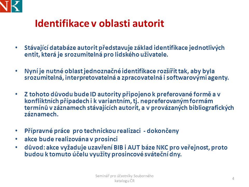 Identifikace v oblasti autorit Stávající databáze autorit představuje základ identifikace jednotlivých entit, která je srozumitelná pro lidského uživatele.