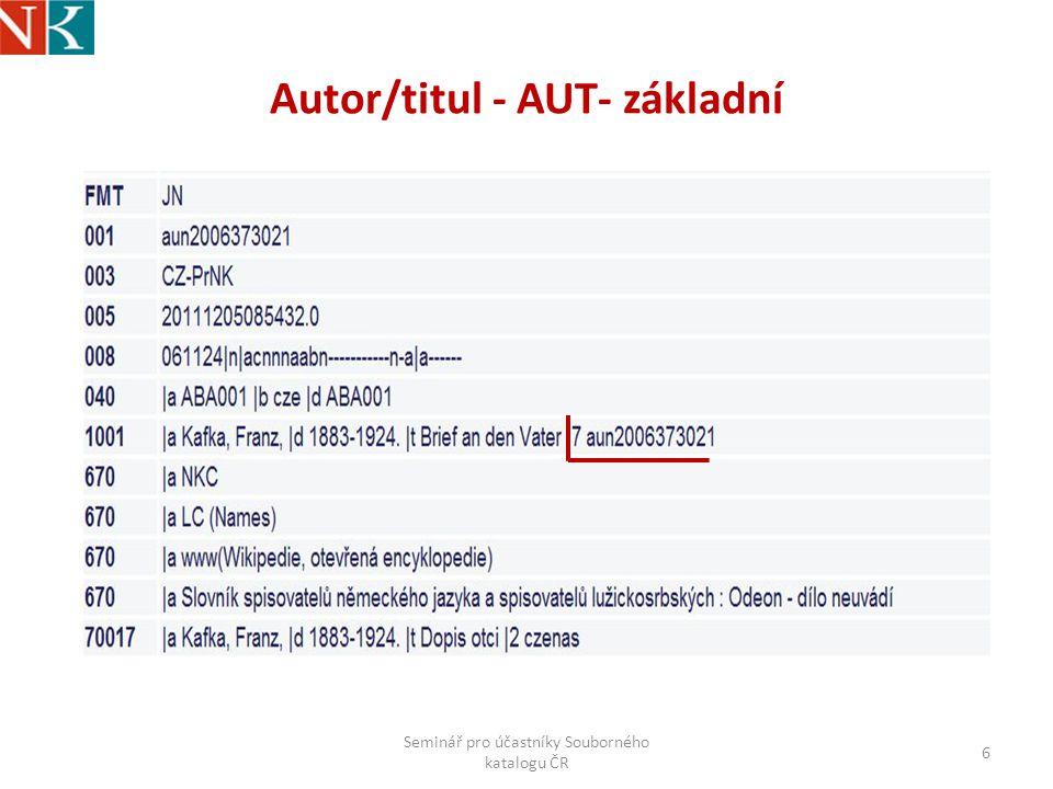 Autor/titul - AUT- základní Seminář pro účastníky Souborného katalogu ČR 6
