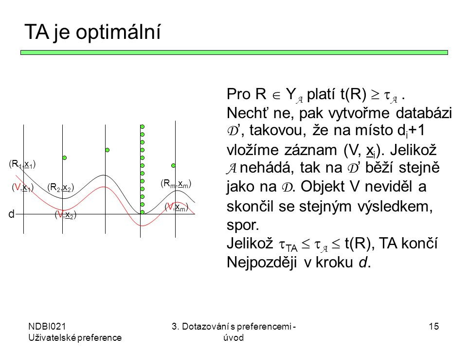 NDBI021 Uživatelské preference 3. Dotazování s preferencemi - úvod 15 TA je optimální (R1,x1)(R1,x1) (R2,x2)(R2,x2) (Rm,xm)(Rm,xm) (V,x1)(V,x1) (V,x2)