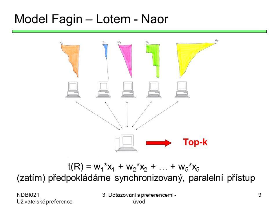 NDBI021 Uživatelské preference 3. Dotazování s preferencemi - úvod 9 Model Fagin – Lotem - Naor t(R) = w 1 *x 1 + w 2 *x 2 + … + w 5 *x 5 (zatím) před