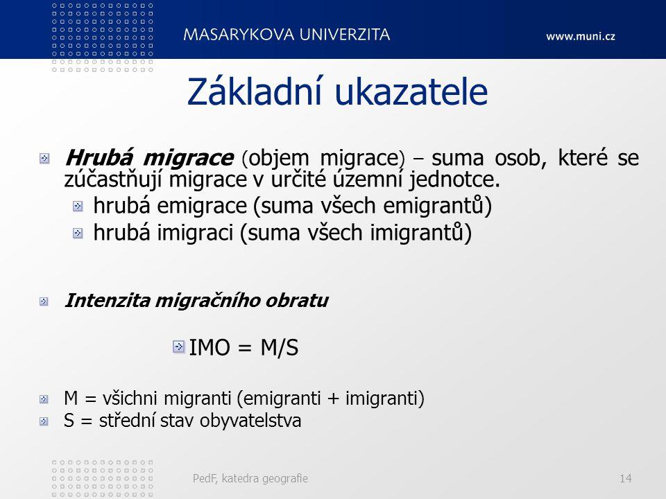 PedF, katedra geografie14 Základní ukazatele Hrubá migrace ( objem migrace ) – suma osob, které se zúčastňují migrace v určité územní jednotce. hrubá