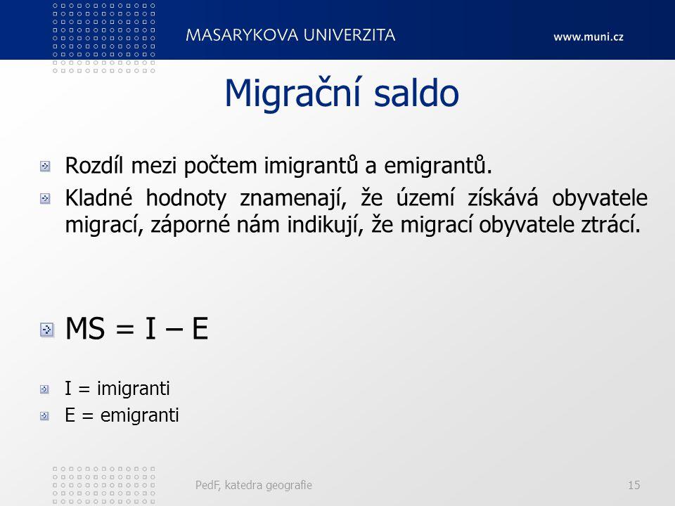 PedF, katedra geografie15 Migrační saldo Rozdíl mezi počtem imigrantů a emigrantů. Kladné hodnoty znamenají, že území získává obyvatele migrací, zápor