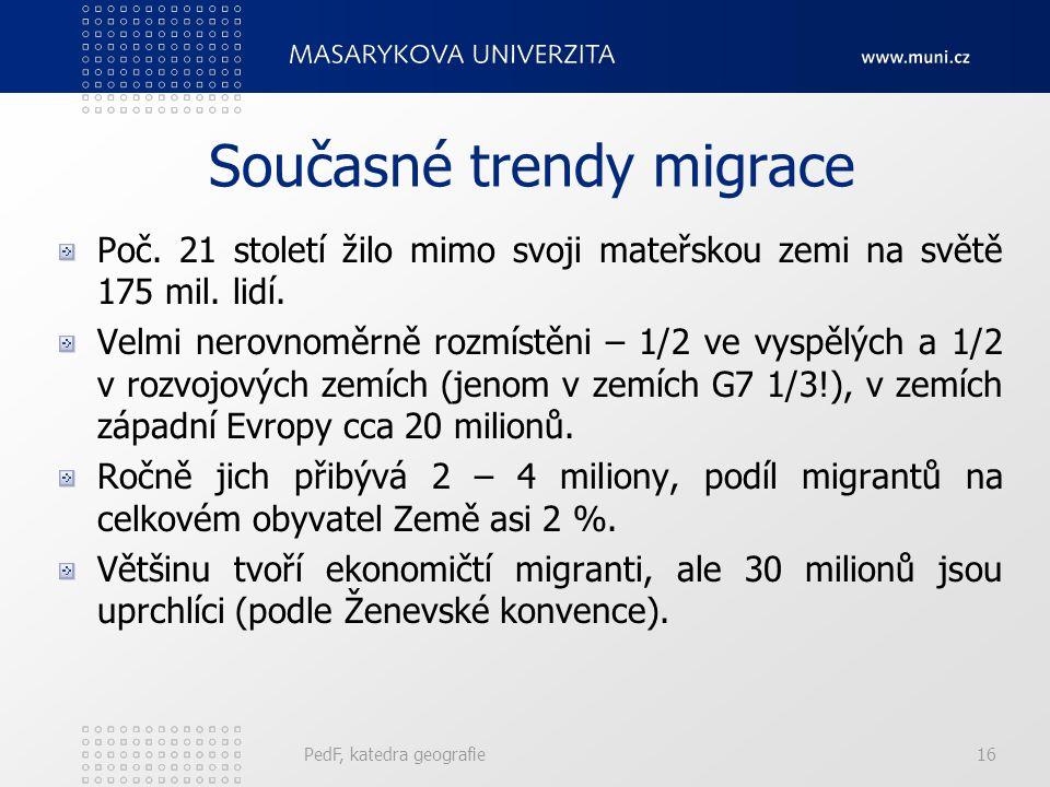 PedF, katedra geografie16 Současné trendy migrace Poč. 21 století žilo mimo svoji mateřskou zemi na světě 175 mil. lidí. Velmi nerovnoměrně rozmístěni