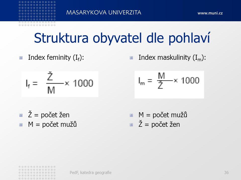 PedF, katedra geografie36 Struktura obyvatel dle pohlaví Index feminity (I f ): Ž = počet žen M = počet mužů Index maskulinity (I m ): M = počet mužů