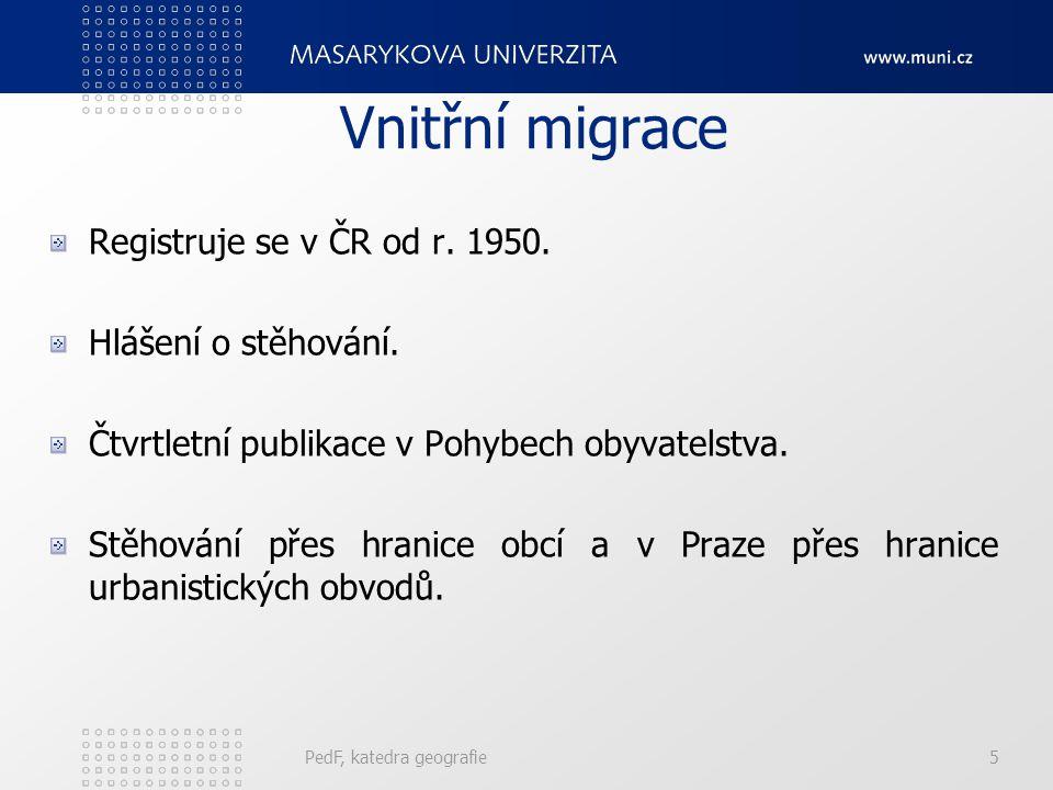 Vnitřní migrace Registruje se v ČR od r. 1950. Hlášení o stěhování. Čtvrtletní publikace v Pohybech obyvatelstva. Stěhování přes hranice obcí a v Praz
