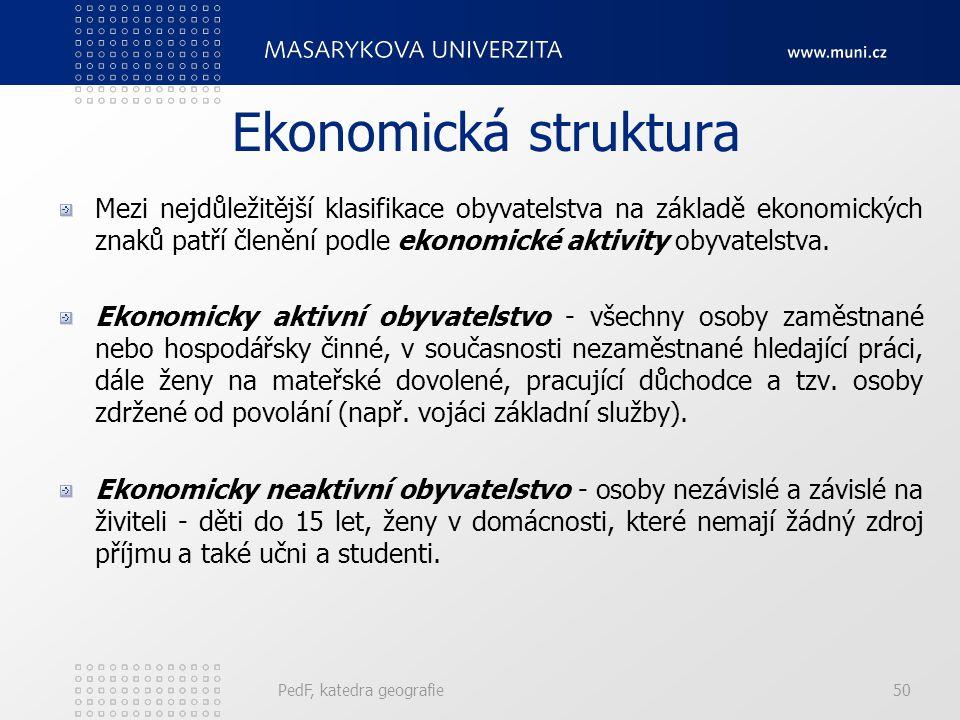 PedF, katedra geografie50 Ekonomická struktura Mezi nejdůležitější klasifikace obyvatelstva na základě ekonomických znaků patří členění podle ekonomic