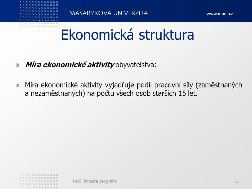 PedF, katedra geografie51 Ekonomická struktura Míra ekonomické aktivity obyvatelstva: Míra ekonomické aktivity vyjadřuje podíl pracovní síly (zaměstna